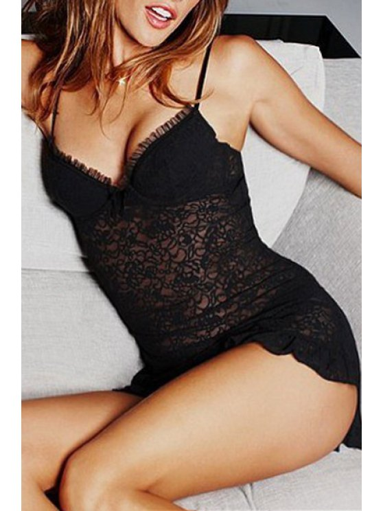fashion Black Cami Lace Ruffled Babydoll - BLACK ONE SIZE(FIT SIZE XS TO M)