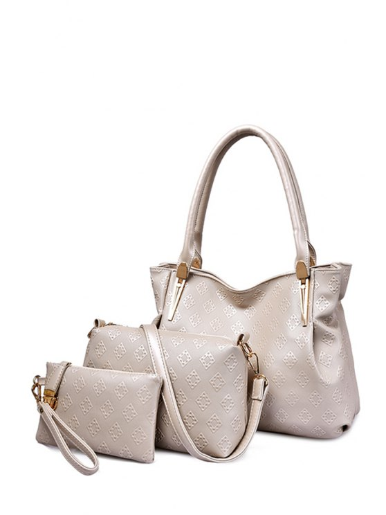 fancy Argyle Metal PU Leather Shoulder Bag - MILK WHITE