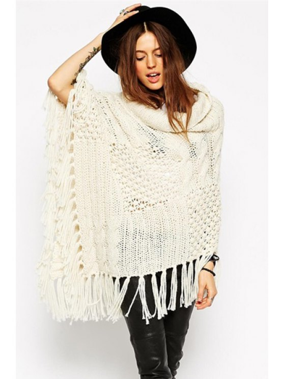 lady Turtleneck Heaps Collar Tassels Sweater - OFF-WHITE ONE SIZE(FIT SIZE XS TO M)
