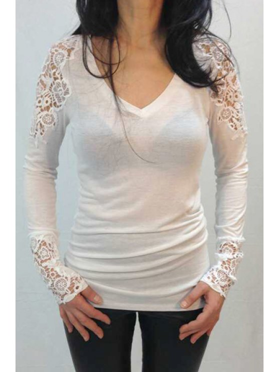 new Lace Spliced Long Sleeve T-Shirt - WHITE XL