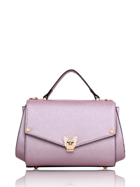 lady Bowknot Metal Solid Color Tote Bag - LIGHT PURPLE