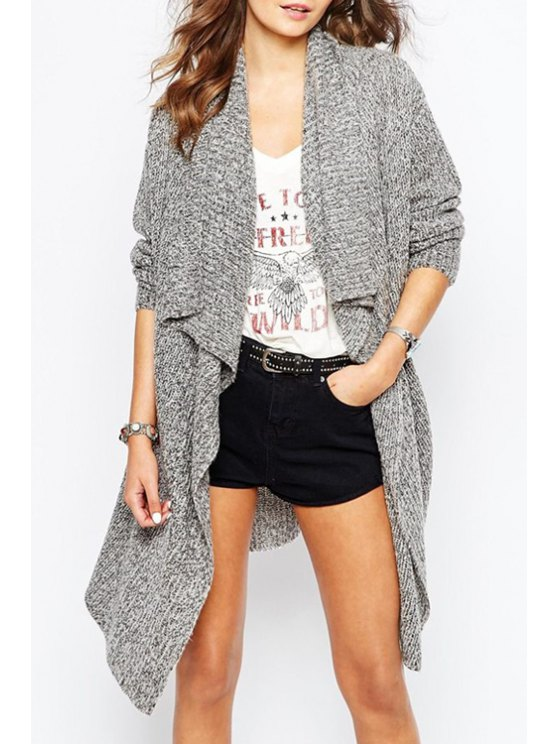 best Turn-Down Collar Asymmetric Long Cardigan - GRAY ONE SIZE(FIT SIZE XS TO M)
