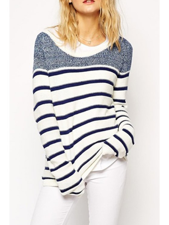 new Long Sleeve Striped Jumper - BLUE AND WHITE ONE SIZE(FIT SIZE XS TO M)