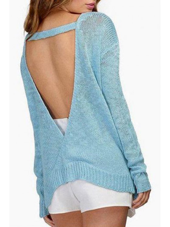 affordable Long Sleeve Open Back Sweater - BLUE ONE SIZE(FIT SIZE XS TO M)