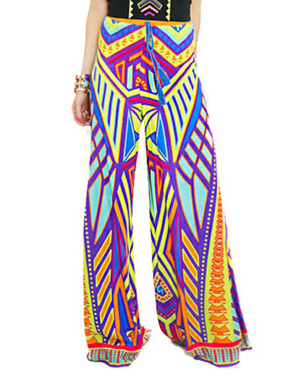 lady Colored Print Elastic Waisted Exumas Pants - YELLOW S