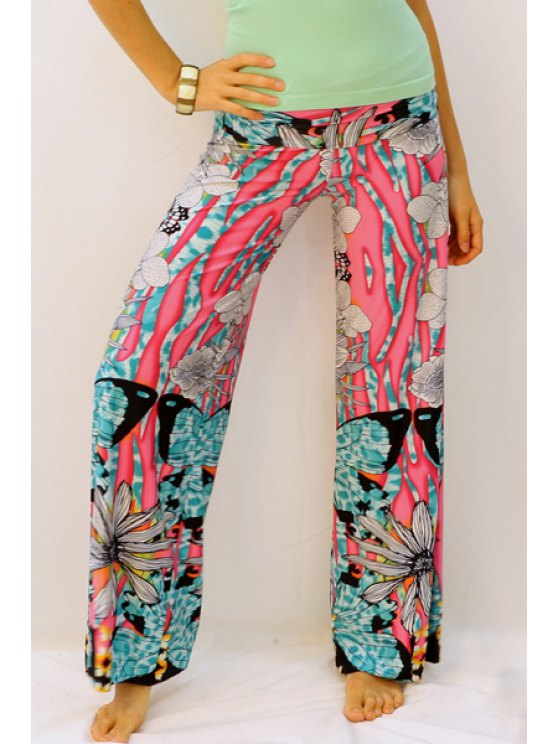 hot Butterfly Print Elastic Waisted Exumas Pants - RED S