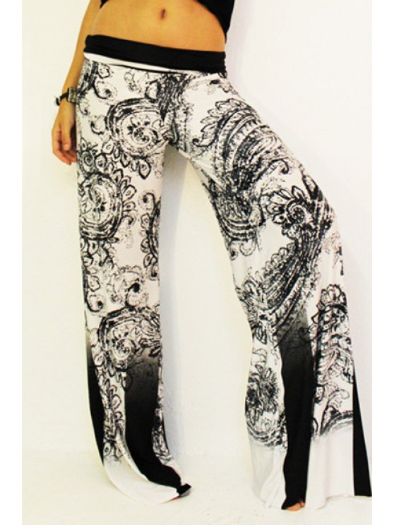 chic Black Print Elastic Waisted Exumas Pants - WHITE AND BLACK S