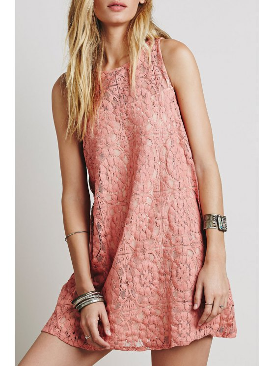 shops Openwork Lace Hook Pink Sundress - PINK M