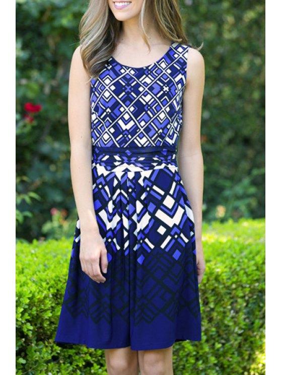buy Checked Scoop Neck Sleeveless Dress - BLUE S
