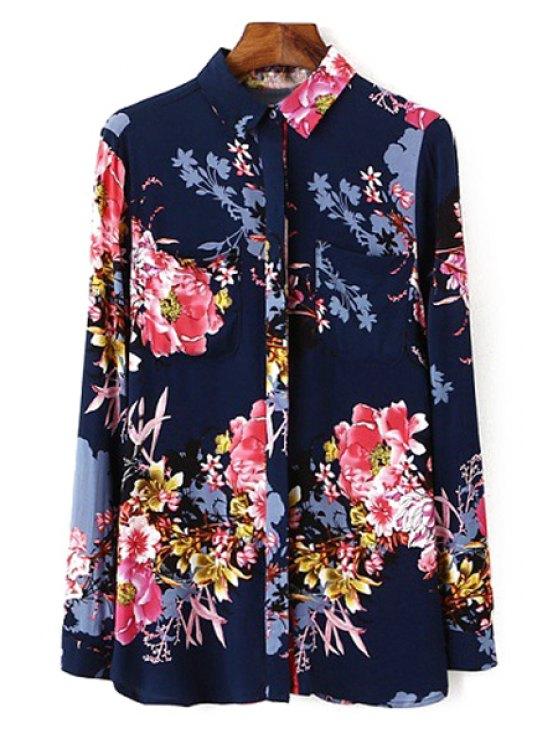 women's Polo Collar Floral Printed Long Sleeve Shirt - PURPLISH BLUE S