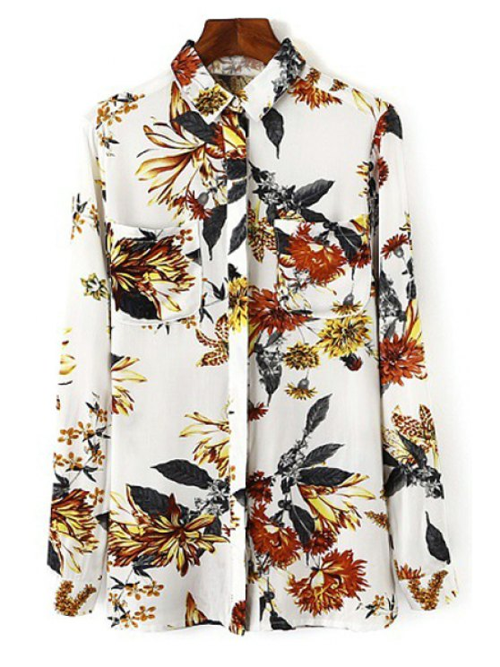 online Colorful Floral Printed Long Sleeve Shirt - WHITE S