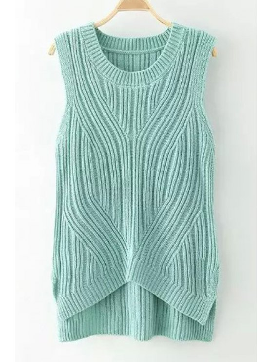 best Solid Color High Low Sleeveless Sweater - GREEN ONE SIZE(FIT SIZE XS TO M)