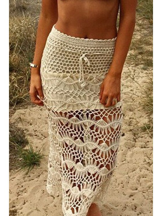 affordable Crochet Solid Color High Waisted Skirt - OFF-WHITE ONE SIZE(FIT SIZE XS TO M)