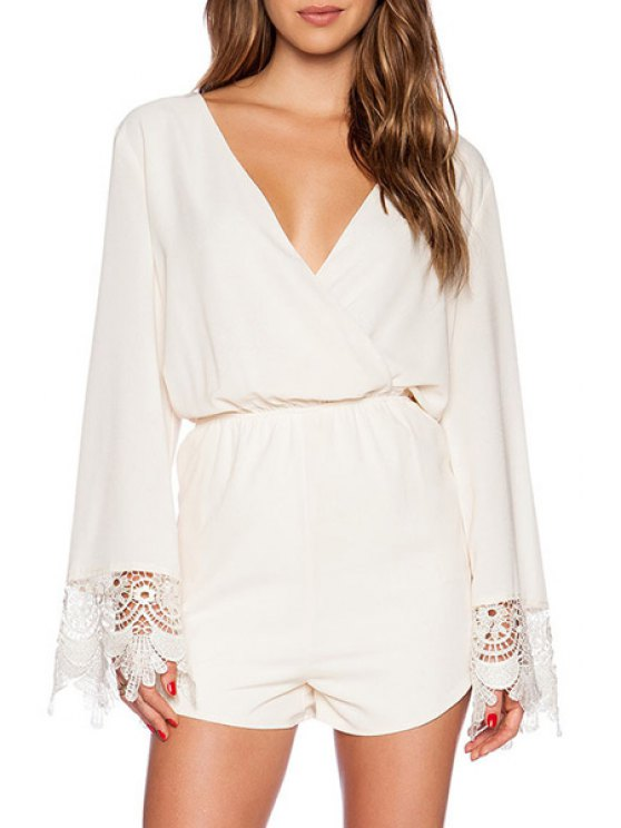 unique White Plunging Neck Long Sleeve Playsuit - WHITE S