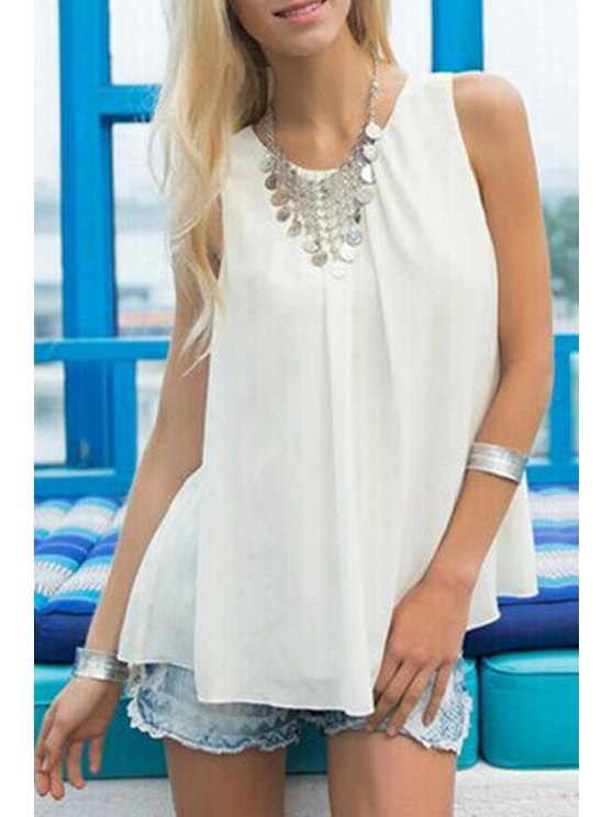 lady White Chiffon Jewel Neck Tank Top - WHITE S