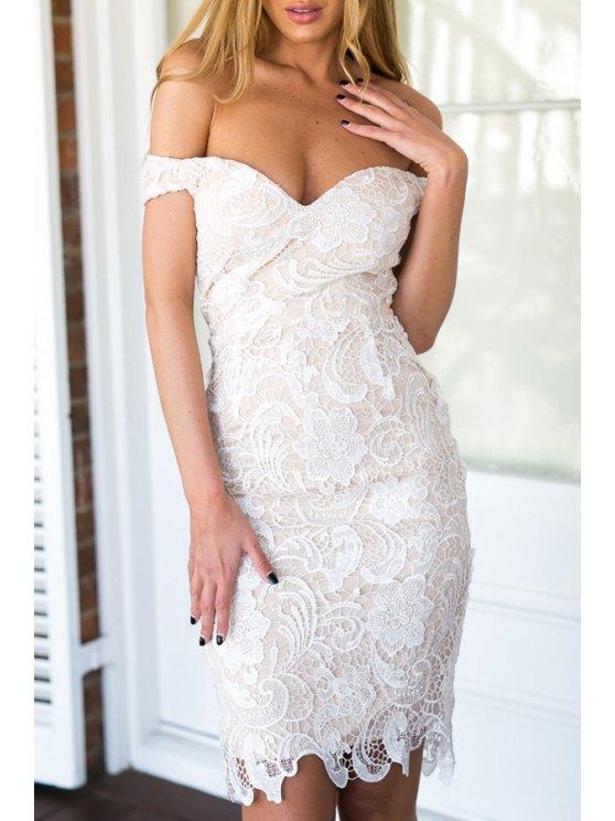 shops Off-The-Shoulder Openwork Lace Hook Dress - WHITE S