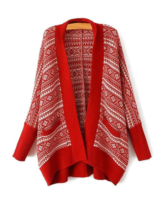 online Turn-Down Collar Argyle Pattern Long Sleeve Cardigan - RED ONE SIZE(FIT SIZE XS TO M)