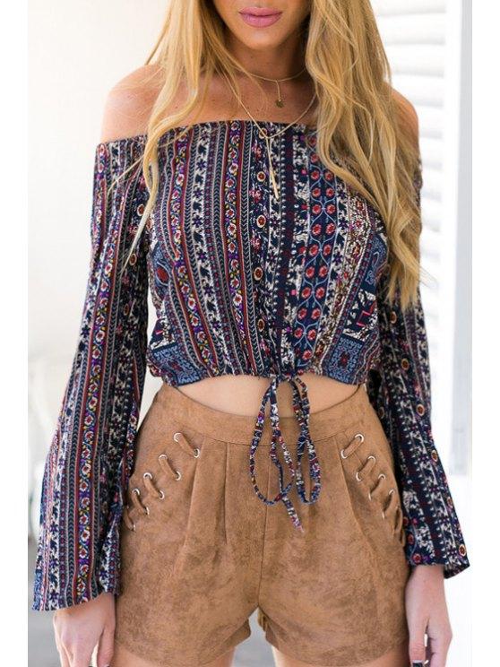 women Off-The-Shoulder Long Sleeve Print Crop Top - BLUE S