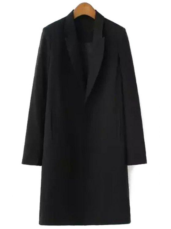 online Lapel Solid Color Pocket Long Sleeve Blazer - BLACK S