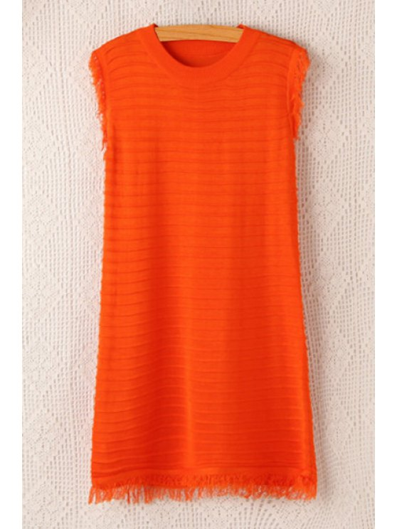 affordable Jewel Neck Fringe Solid Color Sleeveless Dress - ORANGE ONE SIZE(FIT SIZE XS TO M)