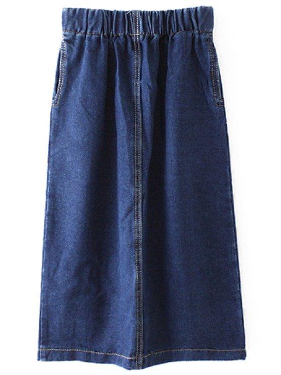 lady Bleach Wash Elastic Waist Skirt - BLUE S