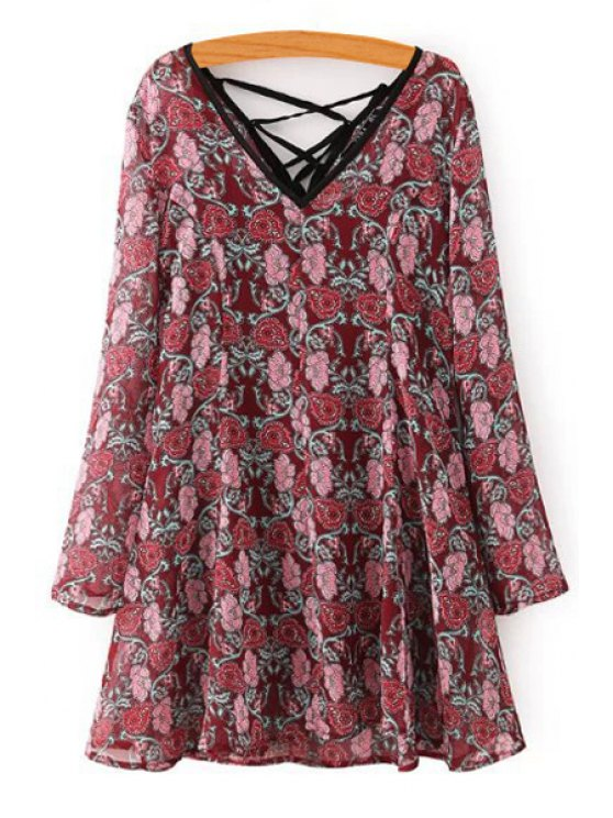 ladies Long Sleeve Tiny Floral Dress + Spaghetti Strap Tank Top Twinset - WINE RED S