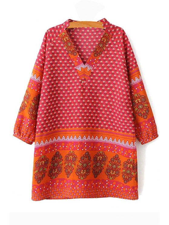 shops Long Sleeve Floral Print Chiffon Dress - ORANGE RED S