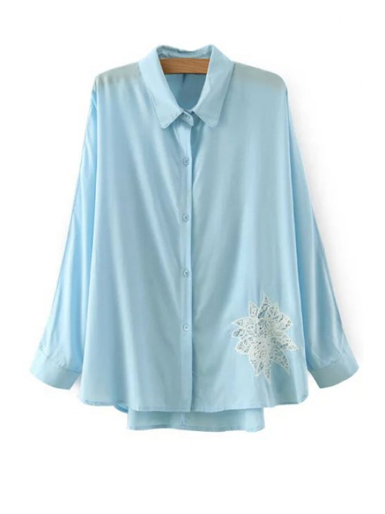 outfits Lace Floral Pattern Long Sleeve Shirt - BLUE S