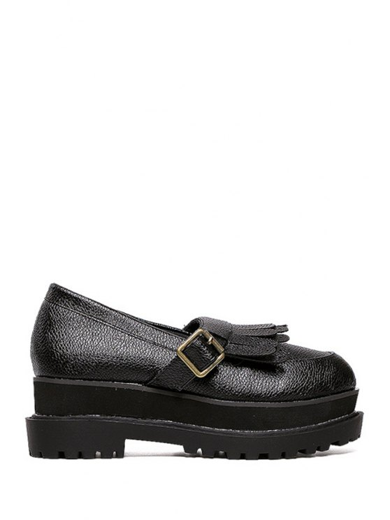 shop Fringe Buckle Round Toe Platform Shoes - BLACK 35
