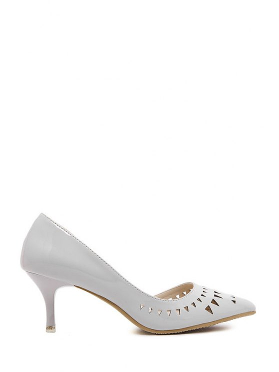 new Openwork Solid Color Pointed Toe Pumps - GRAY 34