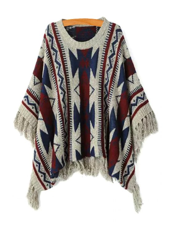 ladies Geometric Pattern Batwing Sweater - COLORMIX ONE SIZE(FIT SIZE XS TO M)