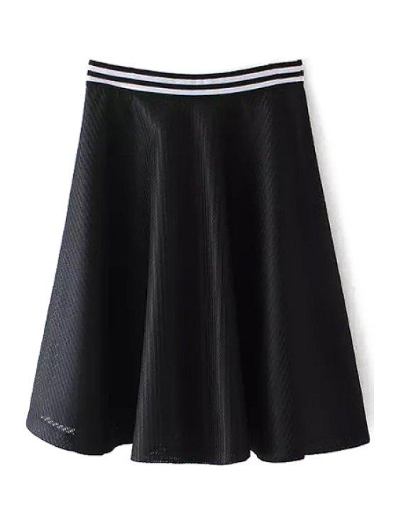 outfit Black White Stripe Zipper Fly Skirt - BLACK S