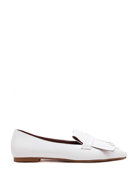 buy Solid Color Fringe Pointed Toe Flat Shoes - WHITE 39