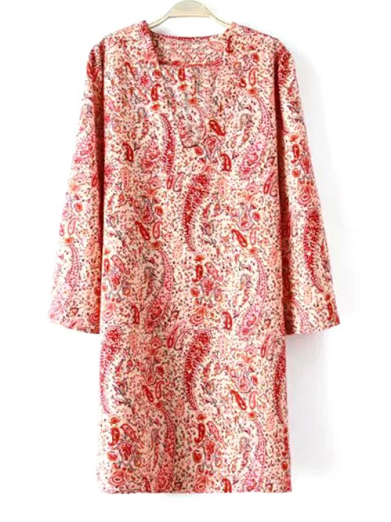 buy 3/4 Sleeve Paisley Print Straight Dress - RED S
