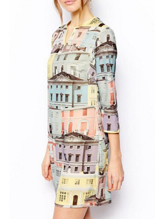 women's Three Quarter Sleeve Building Print Colorful Dress - COLORMIX S