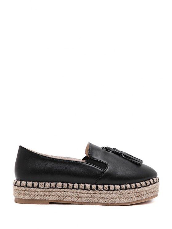 new Tassel Weaving Solid Color Platform Shoes - BLACK 35