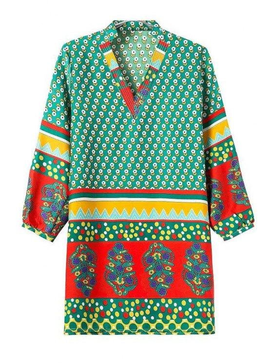 latest Three Quarter Sleeve Ethnic Print Straight Dress - GREEN S