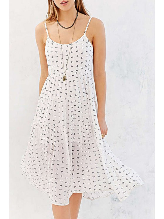 hot Spaghetti Strap Backless Tiny Floral Print Dress - WHITE XS