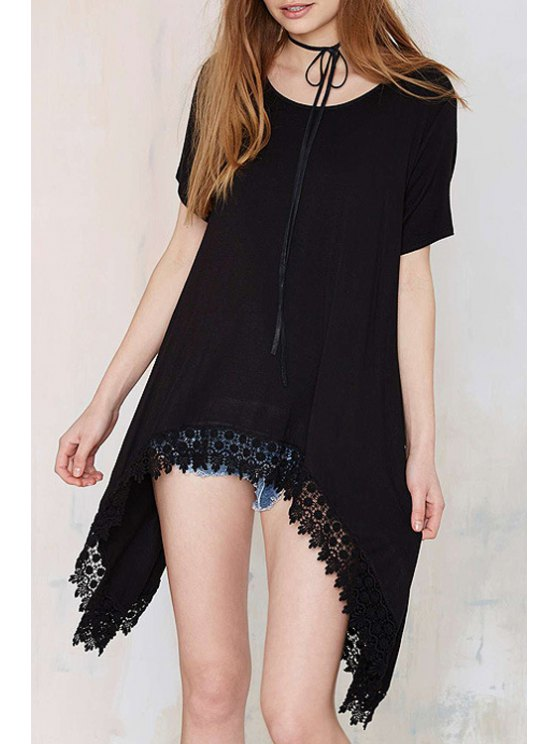 outfits Black Lace Edging Splicing Short Sleeve T-Shirt - BLACK L
