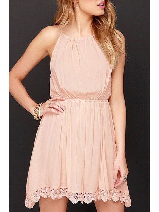 women's Spaghetti Strap Tie-Up Lace Edging Dress - PINK XS