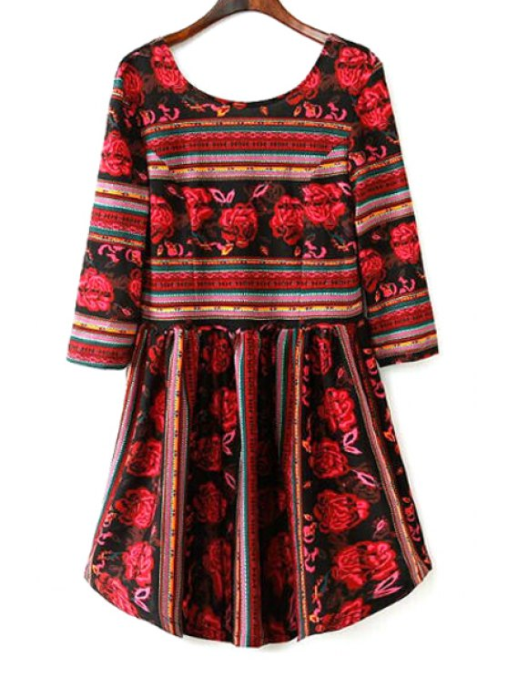 shops Floral Print Stripes Fit and Flare Dress - RED S