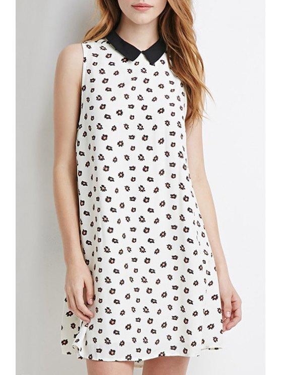 women Tiny Floral Print Turn-Down Collar Dress - WHITE XS