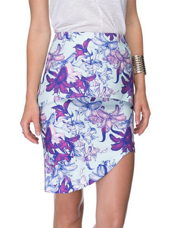 best Multi-Layered Floral Print Skirt - BLUE XS