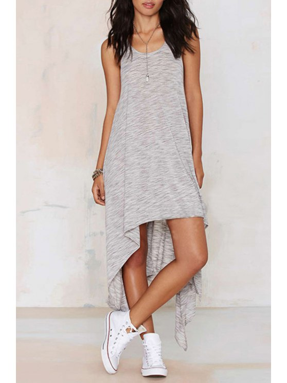 sale Sleeveless Asymmetrical Gray Dress - GRAY S