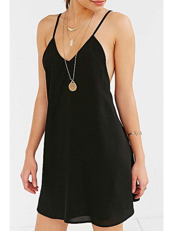 new Spaghetti Strap Black Backless Dress - BLACK XS