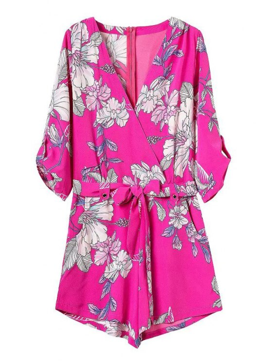 sale Cross-Over Collar Draped Sleeve Floral Romper - RED S