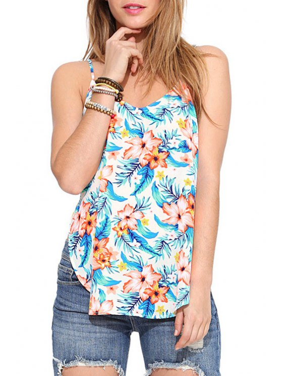 women Spaghetti Strap Backless Floral Print Tank Top - WHITE XS