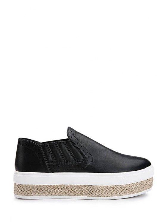 affordable Solid Color Weaving Round Toe Platform Shoes - BLACK 35