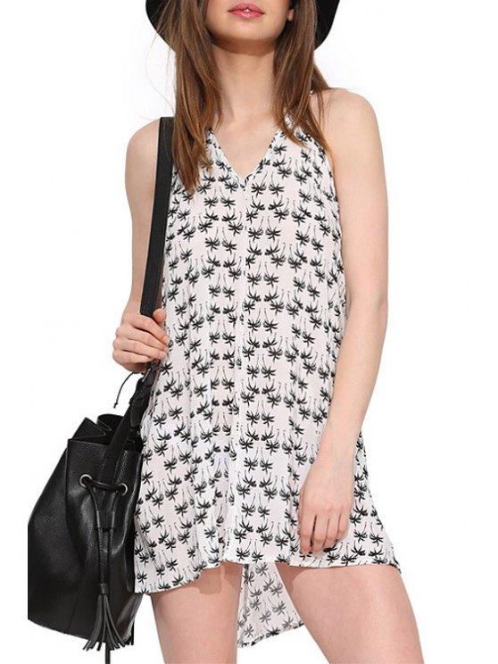 trendy Halter Neck Palm Print Backless Dress - WHITE XS