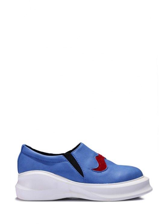 new PU Leather Round Toe Platform Shoes - BLUE 38